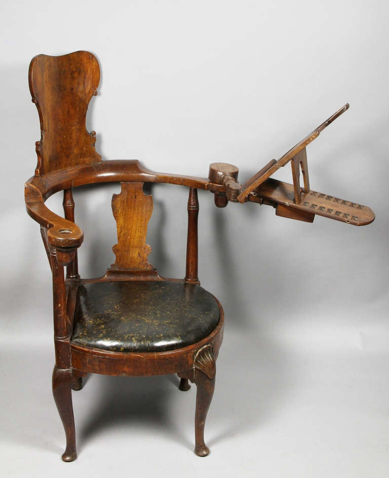 unusual queen anne walnut reading chair at 1stdibs