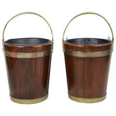Pair of Regency Mahogany and Brass Bound Peat Buckets