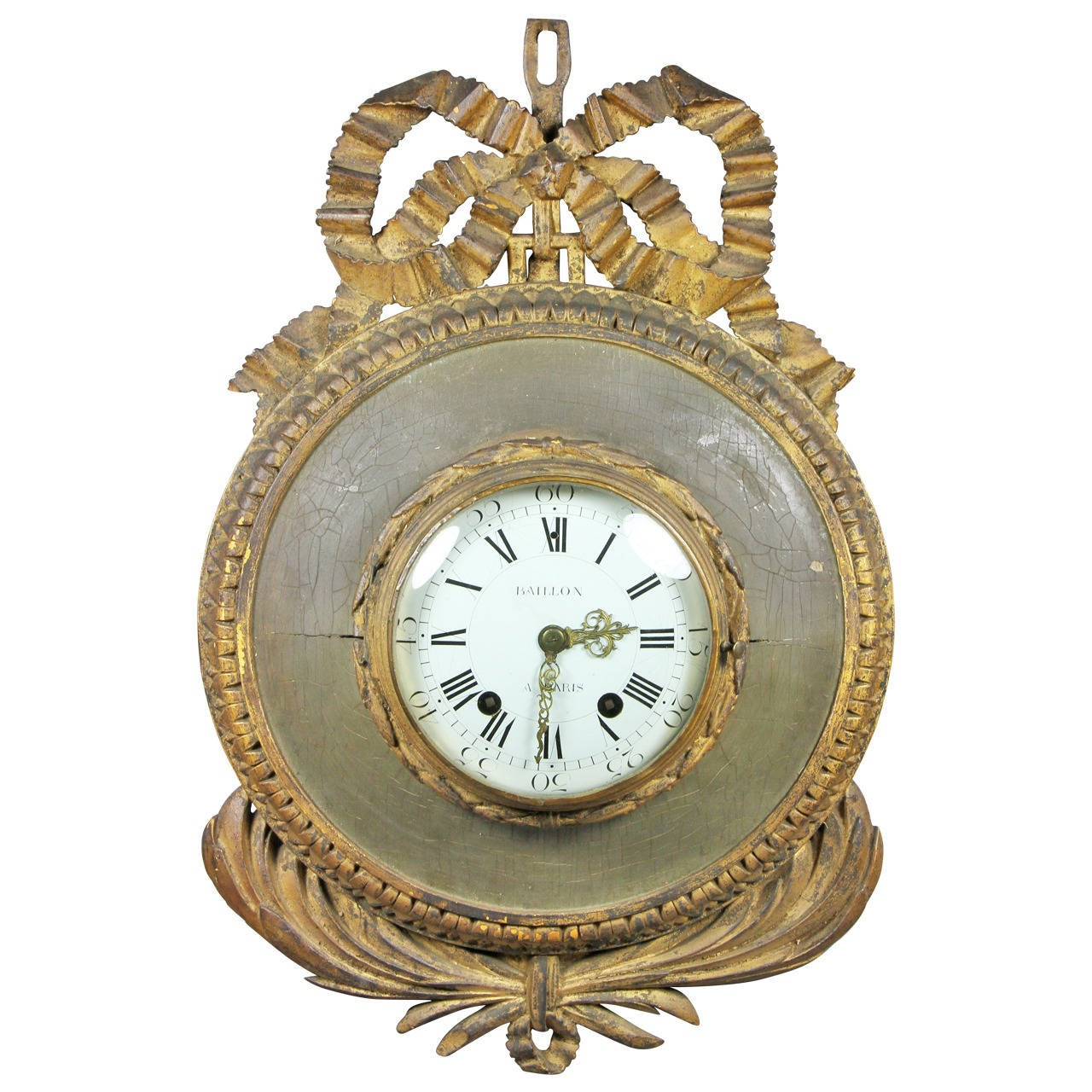 Louis XVI Giltwood And Painted Wall Clock