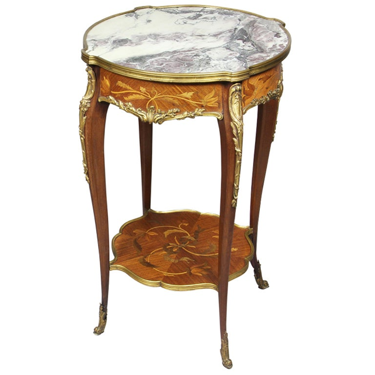 Louis Xv Style Marquetry And Bronze Mounted End Table At