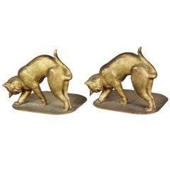 Pair Of Tiffany Studios Gilt Bronze Cat Bookends