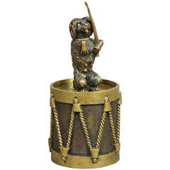 European Bronze Figure of a Dog Seated on a Drum Dinner Bell