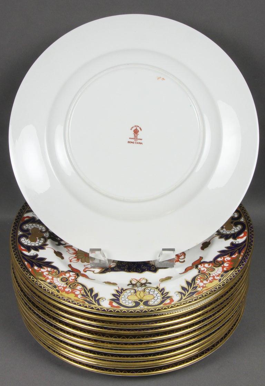 Set Of 12 Royal Crown Derby Imari Pattern Dinner Plates At