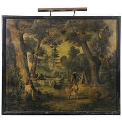 Set Of Four Large Oil On Canvas Paintings Of Early America