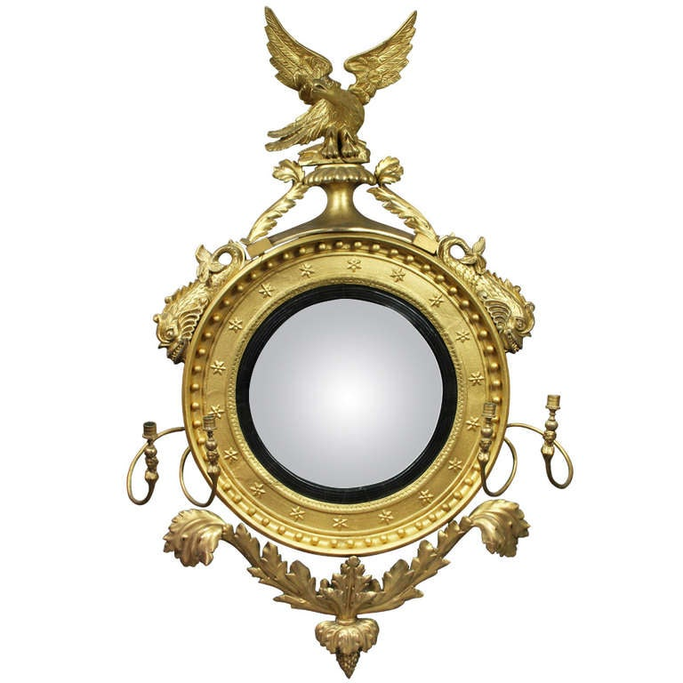 Regency giltwood convex mirror at 1stdibs for Convex mirror for home