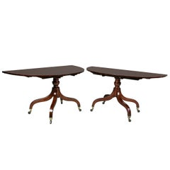 Unusual Irish Regency Two Pedestal Dining Table