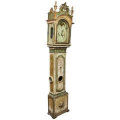 Scandinavian Painted And Parcel Gilt Tall Case Clock