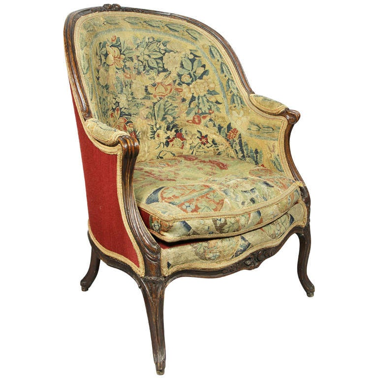 louis xvi walnut and needlepoint bergere at 1stdibs. Black Bedroom Furniture Sets. Home Design Ideas