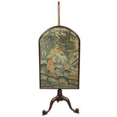 George III Mahogany And Needlepoint Fire Screen