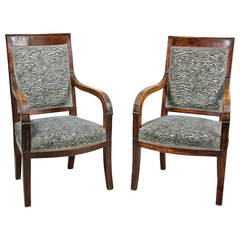 Pair Of French Empire Fruitwood Fauteuils