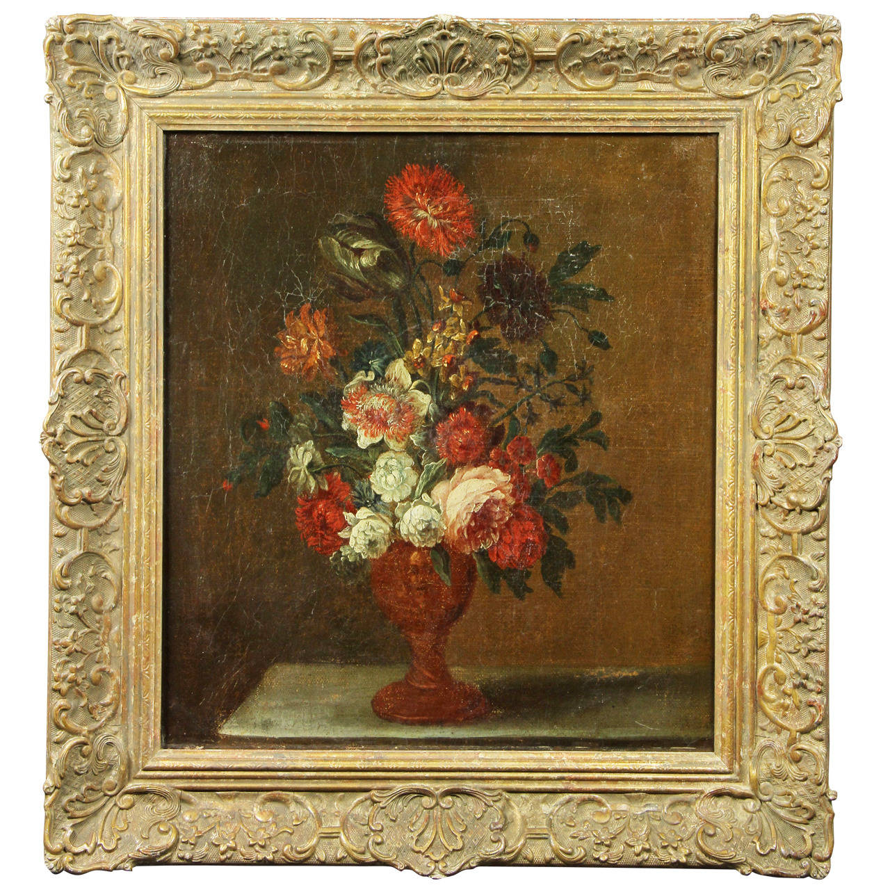 French Still Life Painting of Flowers