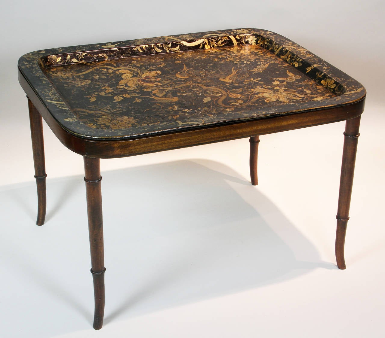 Victorian papier mache tray on later stand at 1stdibs for Table stand i 52 compose