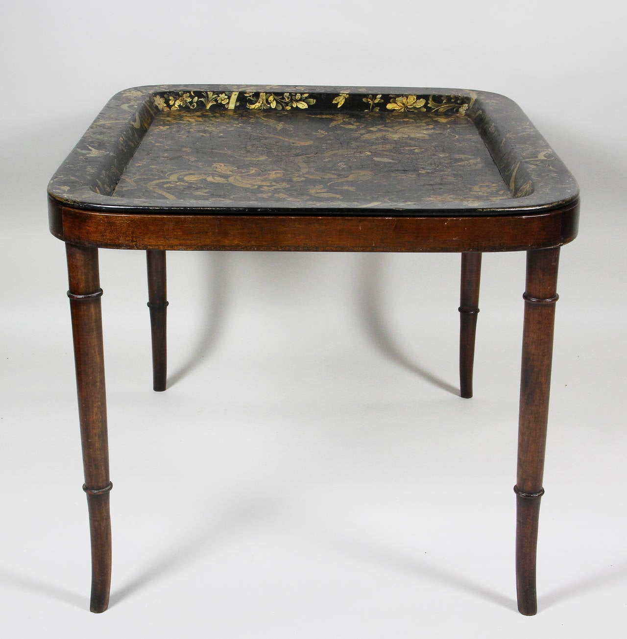 Victorian Papier Mache Tray On Later Stand At 1stdibs