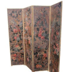 Spanish Leather and Painted Four-Panel Screen