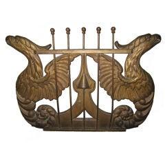 American Gilt Metal Lyre Form Decoration