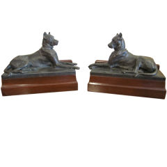 A Pair Bronze Figures of Great Danes By George Gardet