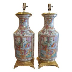 Pair Of Chinese Export Rose Mandarin Table Lamps
