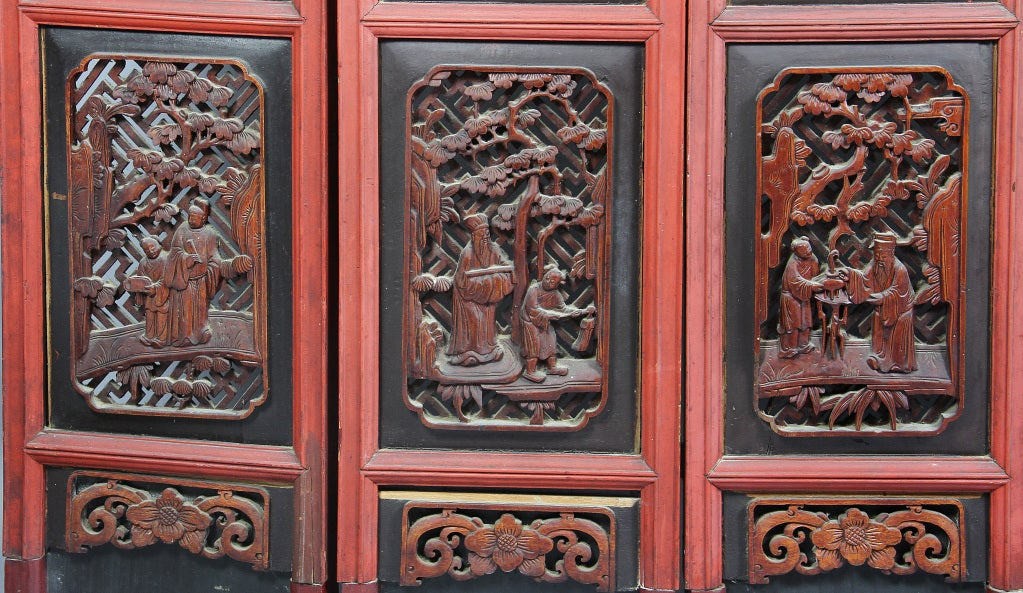 Carved stone asian screens