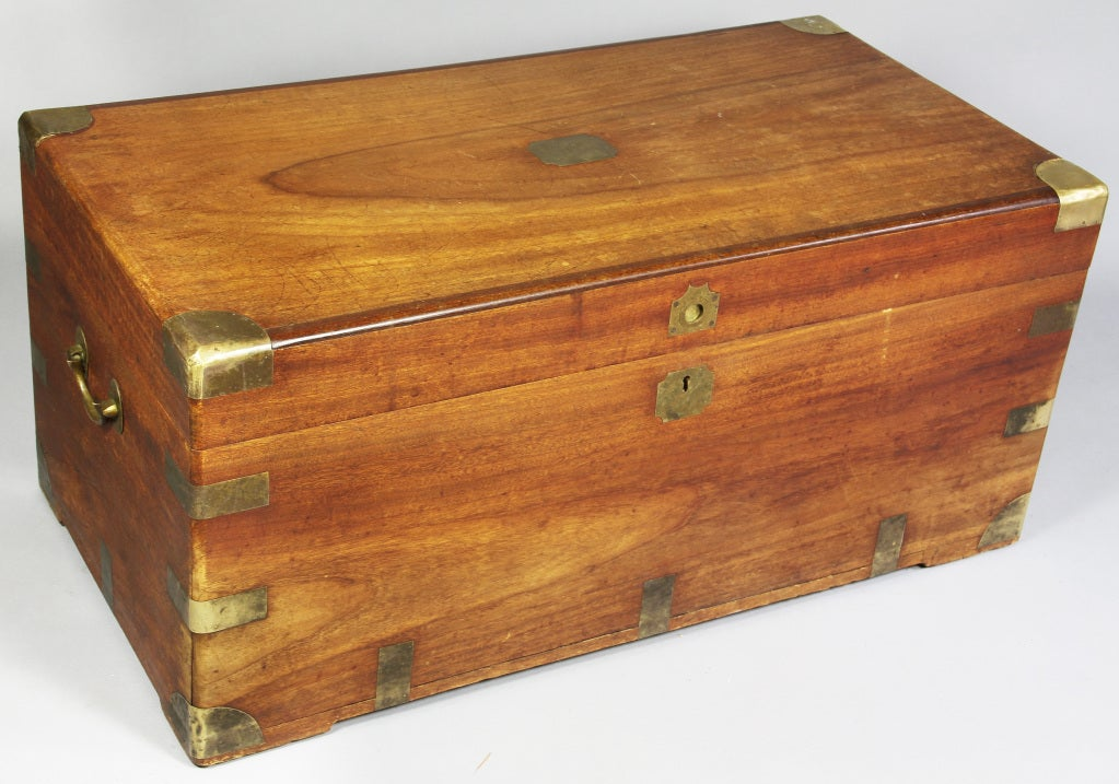Chinese export camphor wood and brass mounted chest