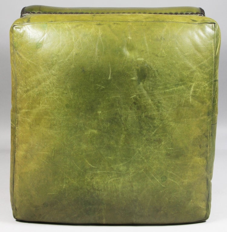 Victorian Style Green Leather Ottoman At 1stdibs