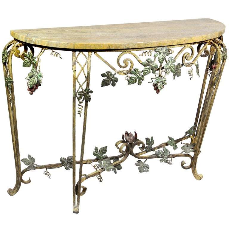 Wrought iron and marble console table at 1stdibs for Wrought iron sofa table base