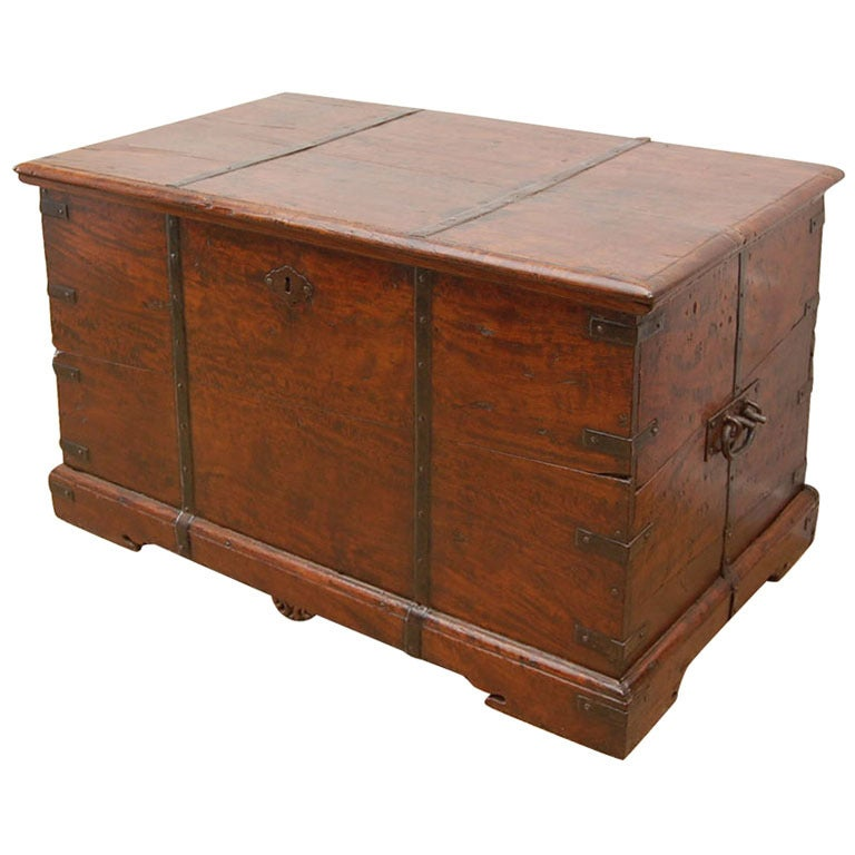 19th Century Anglo-Indian Teak Tea Chest or Trunk
