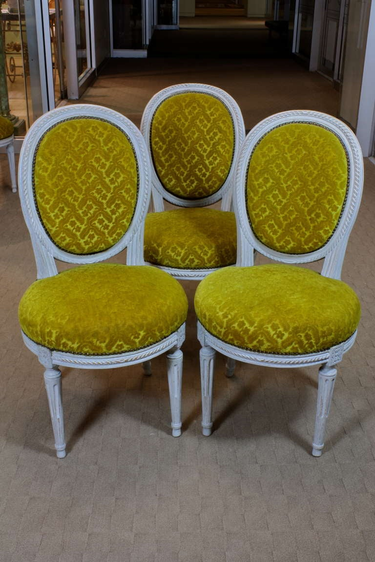 French Set of Eight Louis XVI Period Side Chairs For Sale