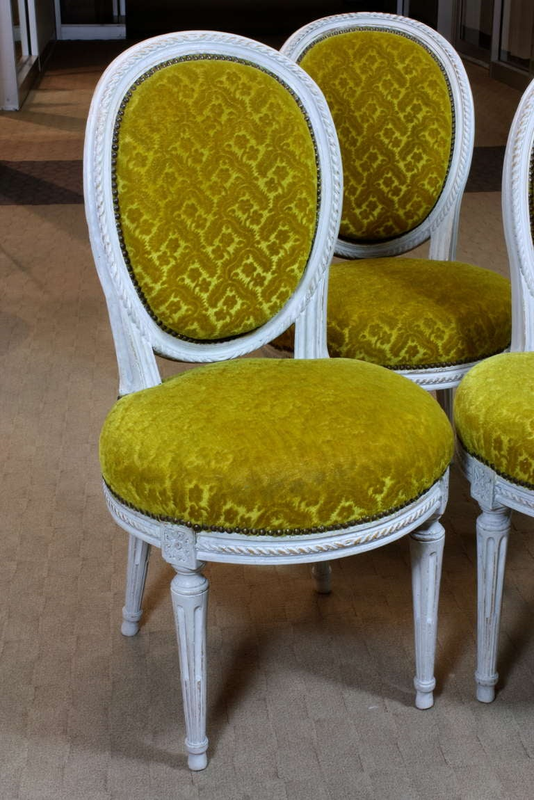 Carved Set of Eight Louis XVI Period Side Chairs For Sale