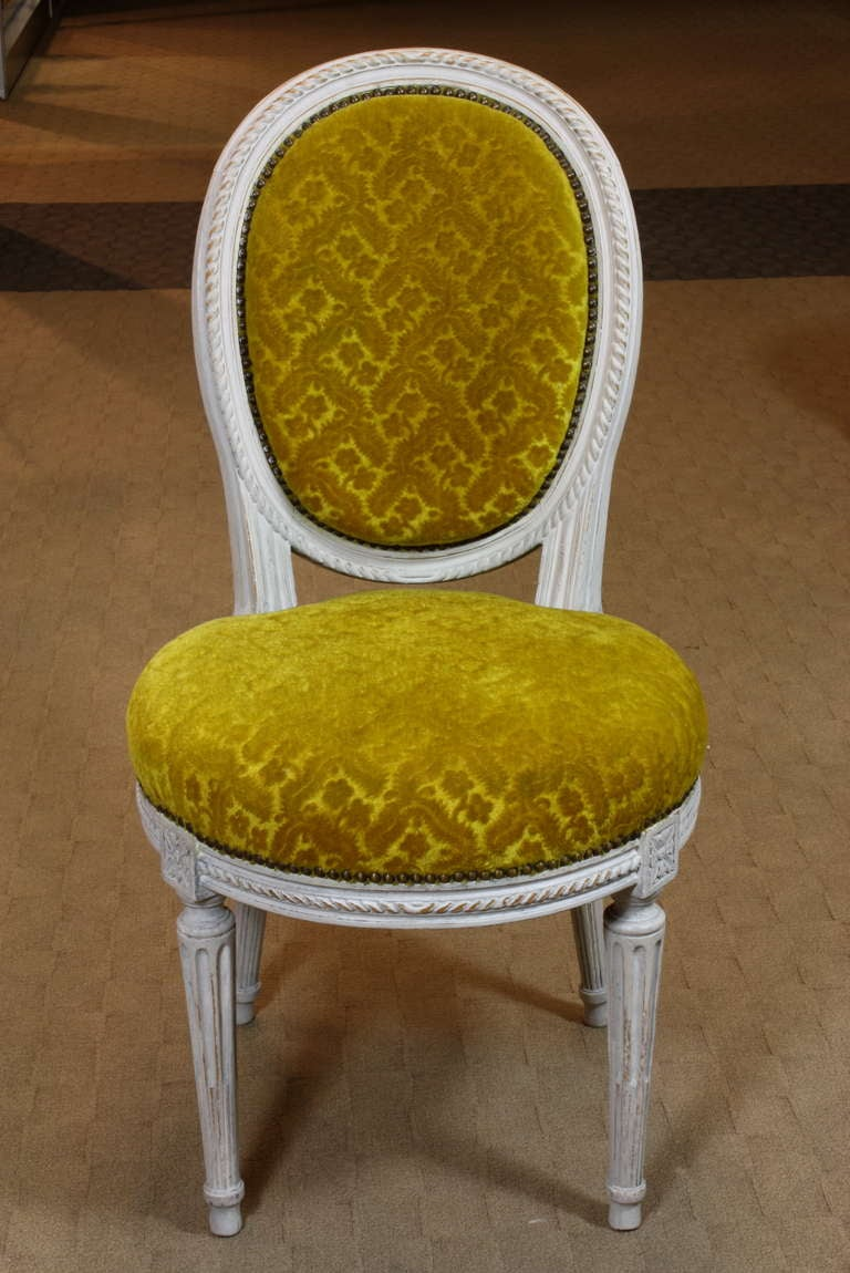 Set of Eight Louis XVI Period Side Chairs In Good Condition For Sale In Pembroke, MA