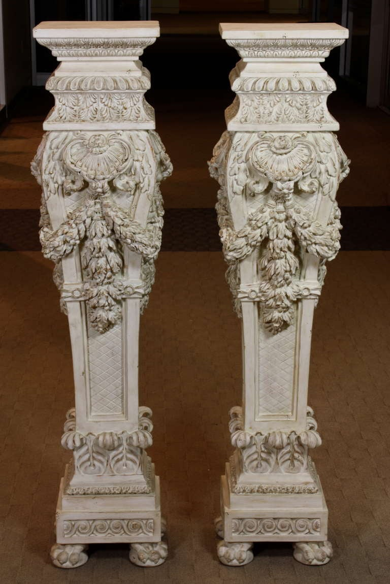 Pair Of Italian Carved Wood Pedestals For Sale At 1stdibs