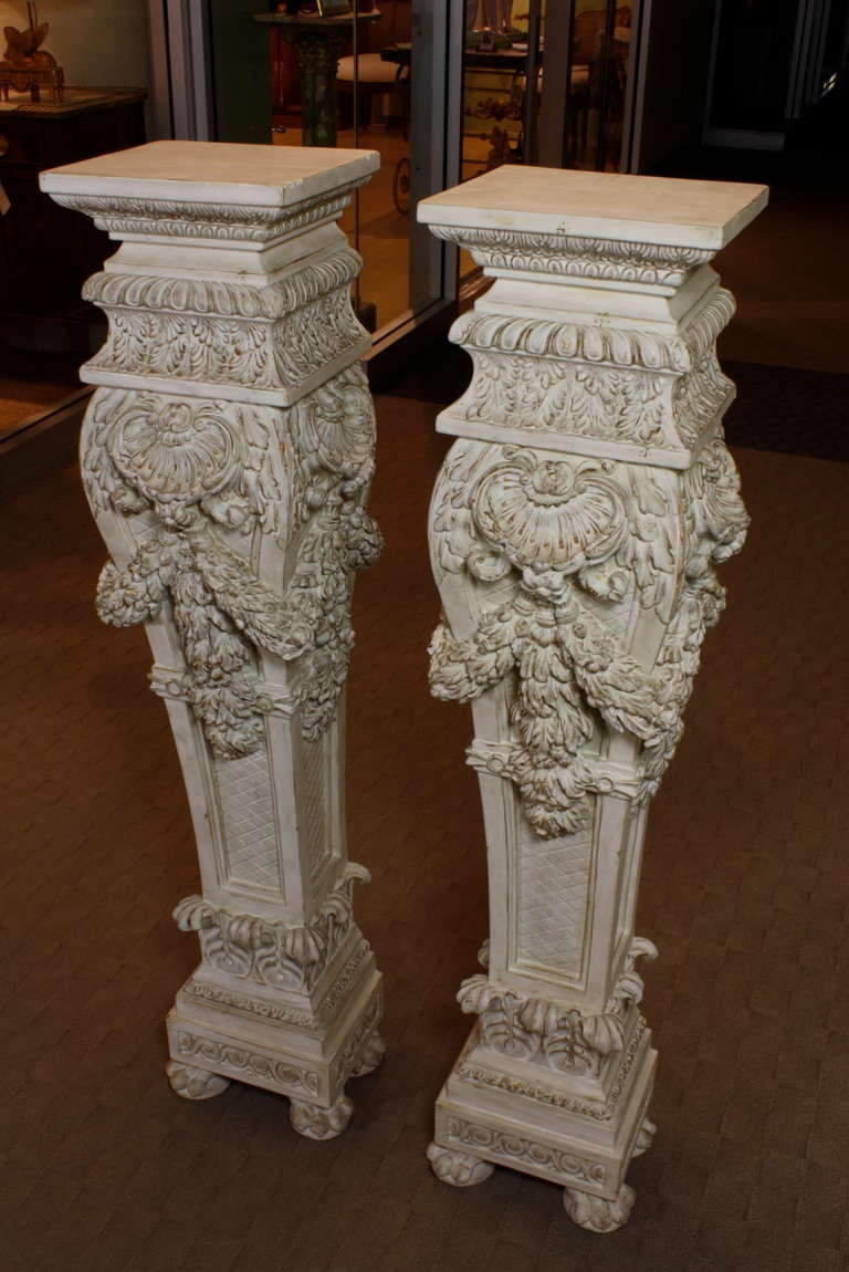 20th Century Pair of Italian Baroque Style Hand Carved Wood Pedestals Painted White For Sale
