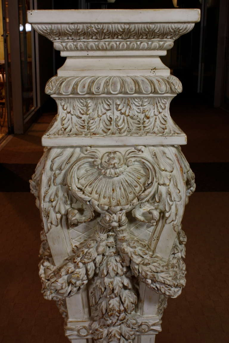 Pair of Italian Baroque Style Hand Carved Wood Pedestals Painted White For Sale 2