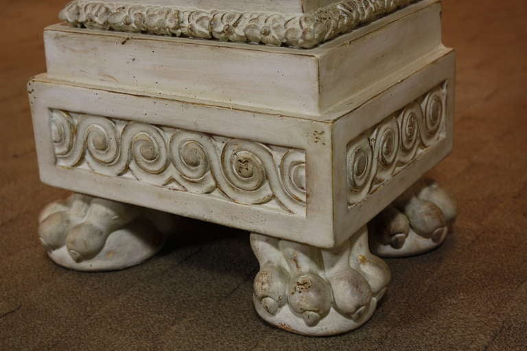 Pair of Italian Baroque Style Hand Carved Wood Pedestals Painted White For Sale 5