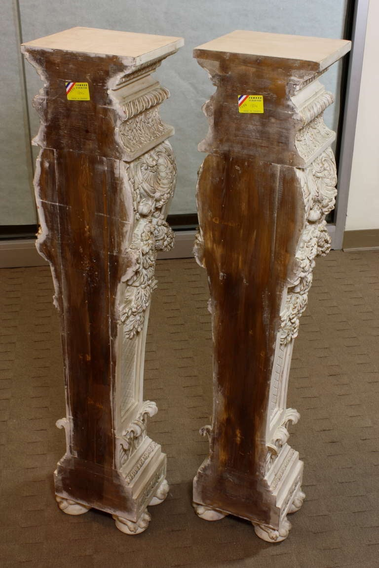 Pair of Italian Baroque Style Hand Carved Wood Pedestals Painted White For Sale 6