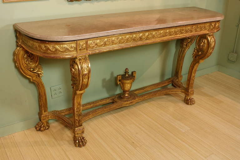 Louis XVI Impressive French Giltwood Console with Travertine Marble Top For Sale