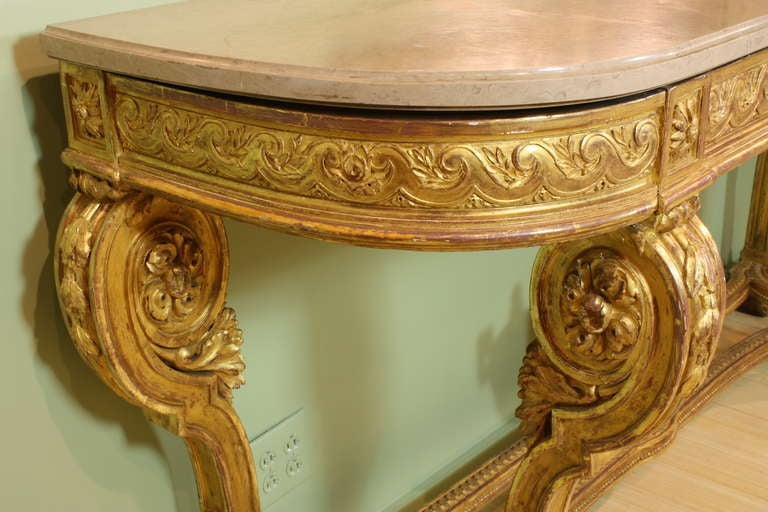 Impressive French Giltwood Console with Travertine Marble Top In Good Condition For Sale In Pembroke, MA