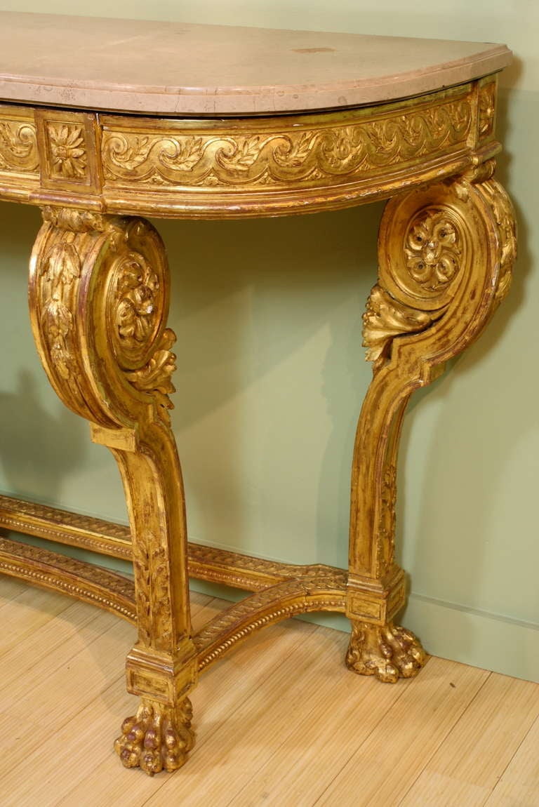 19th Century Impressive French Giltwood Console with Travertine Marble Top For Sale