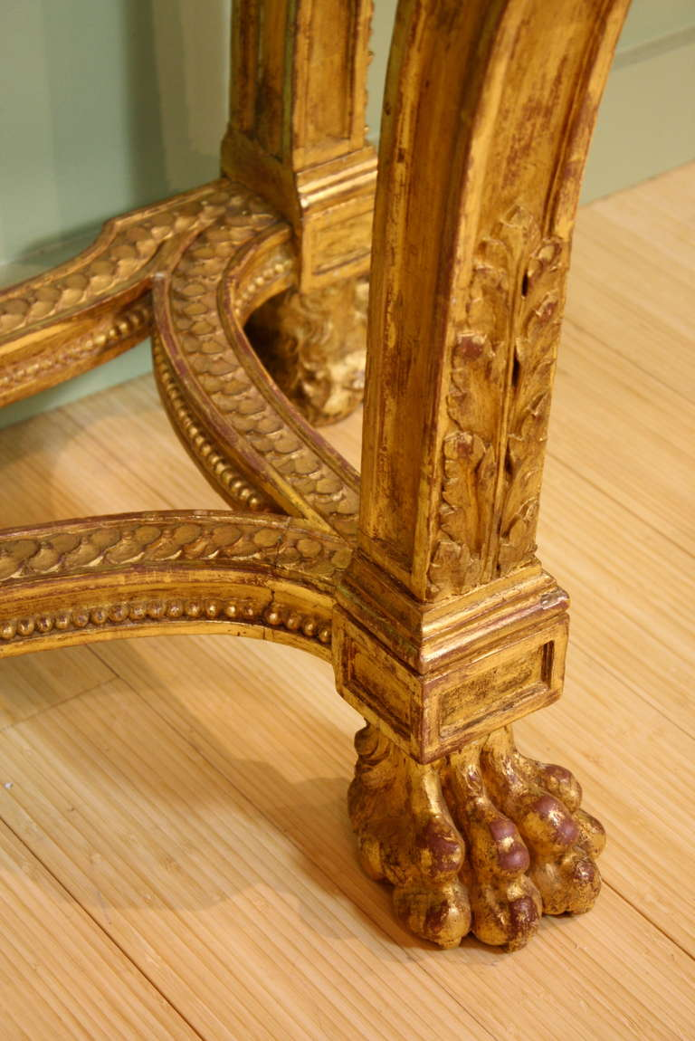 Impressive French Giltwood Console with Travertine Marble Top For Sale 2