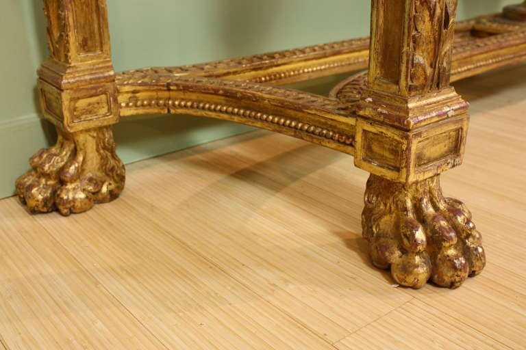 Impressive French Giltwood Console with Travertine Marble Top For Sale 4