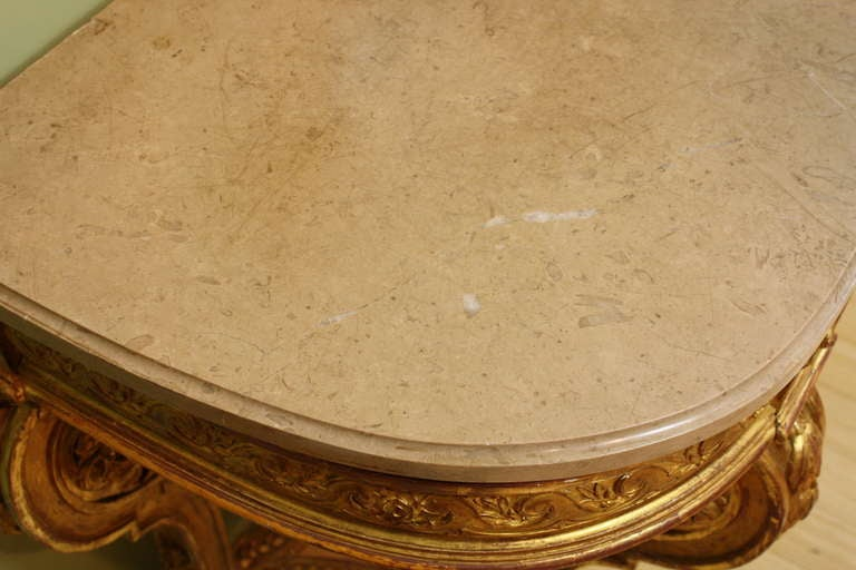 Impressive French Giltwood Console with Travertine Marble Top For Sale 5