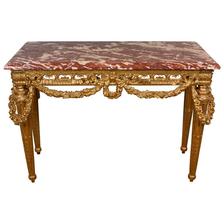 French Louis XVI Style Giltwood Console Table with Swags