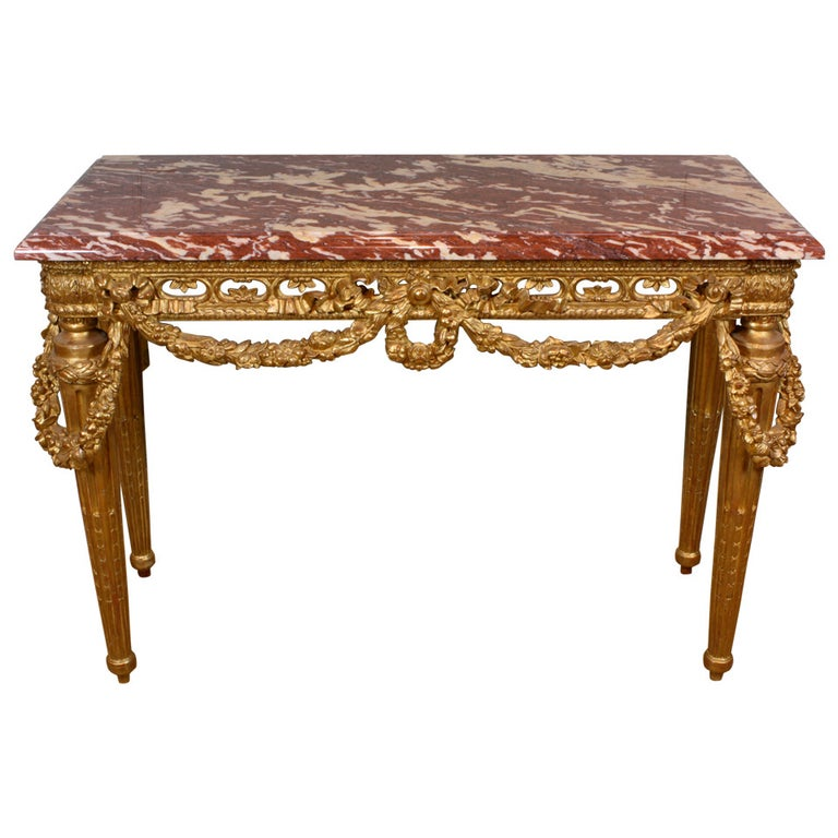 French Louis XVI Style Giltwood Console Table with Swags For Sale