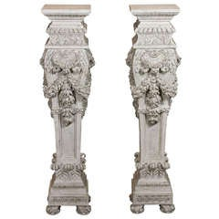 Pair of Italian Carved Wood Pedestals