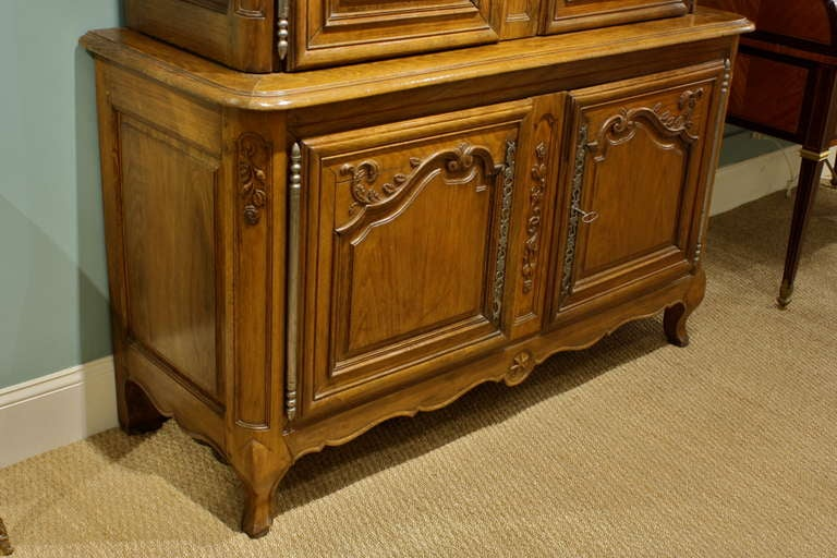 Wood French Louis XV Buffet a Deux Corps For Sale