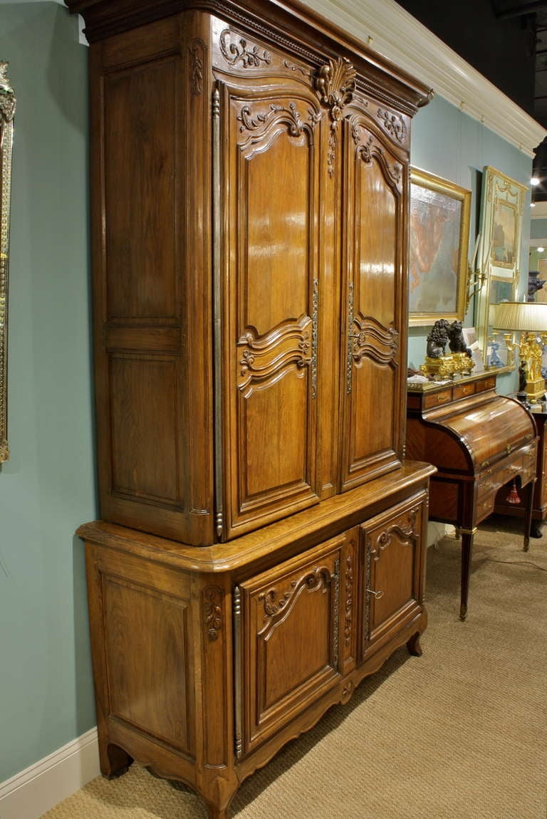 Carved French Louis XV Buffet a Deux Corps For Sale