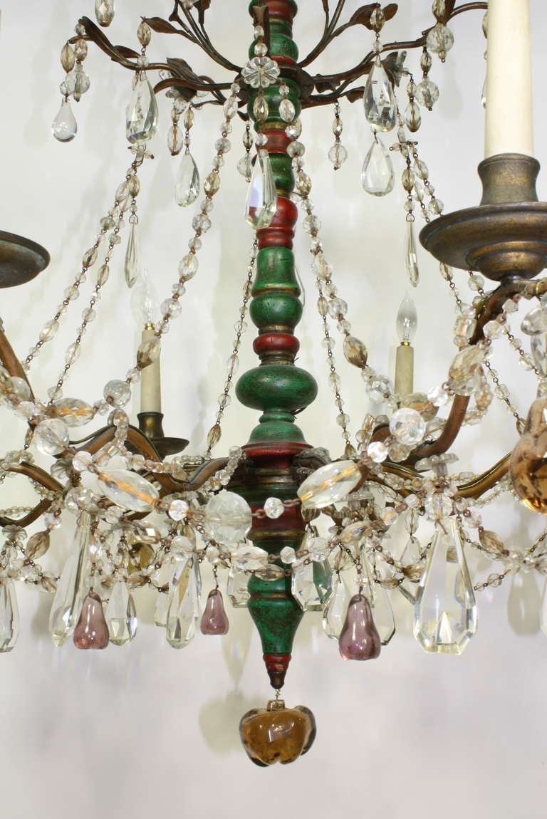 Italian Crystal and Glass Chandelier with Turned Wood Column In Good Condition For Sale In Charleston, SC