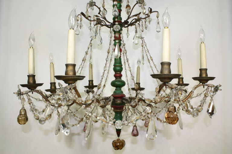 Neoclassical Revival Italian Crystal and Glass Chandelier with Turned Wood Column For Sale