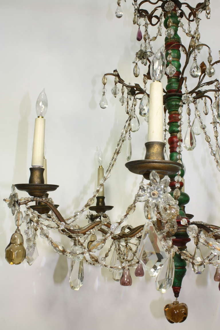 Italian Crystal and Glass Chandelier with Turned Wood Column For Sale 2