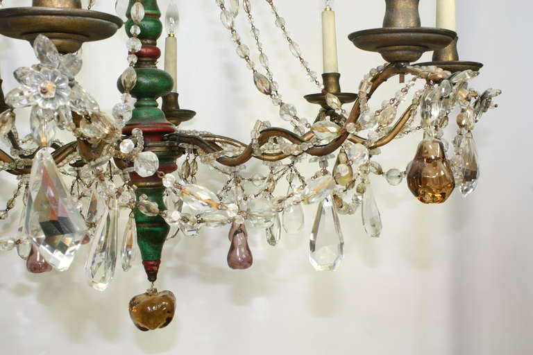 Italian Crystal and Glass Chandelier with Turned Wood Column For Sale 1