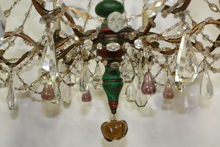 Italian Crystal and Glass Chandelier with Turned Wood Column For Sale 5